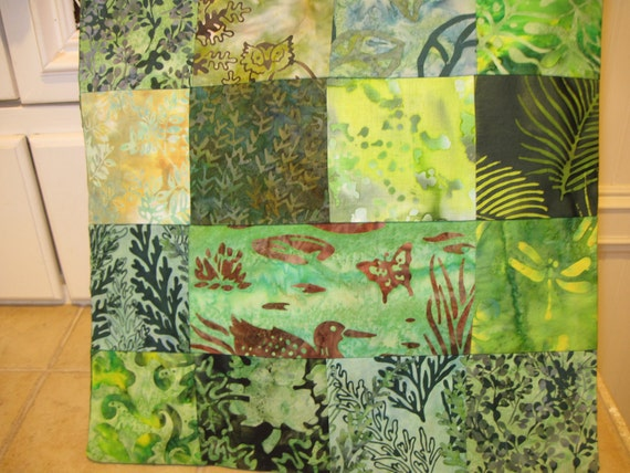"""14"""" x 14""""  Pillow Cover - Woodland Pond Butterfly Nature Organic Greens Fine Batiks"""