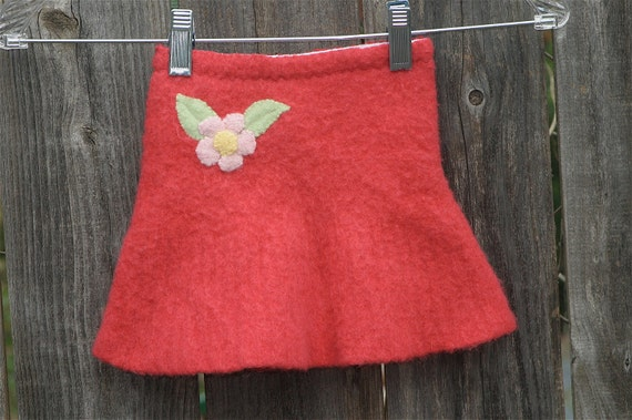 Upcycled wool sweater child's skirt with applique