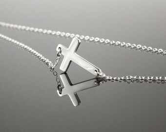 Sterling Silver Sideways Cross Necklace, Horizontal Celebrity Inspired Necklace, 16 Inch Chain