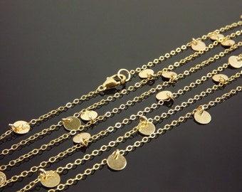 Courtney Cox Disc Necklace Cougar Town Long Gold Filled Necklace, Celebrity Inspired, Small, Tiny Disc Necklace