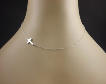 XCLOSETOREAL'S Sideways Cross Necklace, Sterling Silver, Jennifer Lopez, Vanessa Hudgens, Audrina Patridge, Celebrity Inspired Necklace