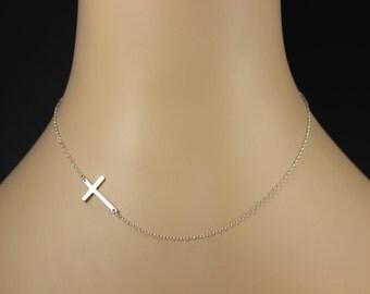 Sideways Cross Necklace, Sterling Silver Kelly Ripa, Celebrity Inspired, Horizontal Necklace