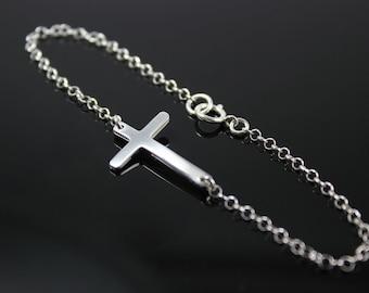 Kelly Ripa Sideways Cross Bracelet, Sterling Silver, Skinny Cross Celebrity Inspired