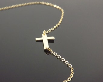 14K Gold Filled Audrina Patridge Necklace, 32 Inch Sideways Cross Necklace