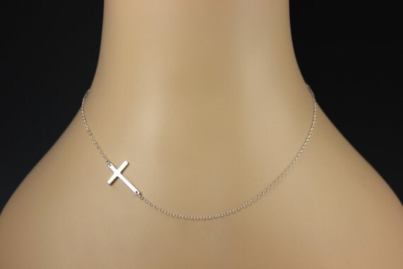 Sideways Cross Necklace, Sterling Silver, Kelly Ripa, Celebrity Inspired, Horizontal Necklace
