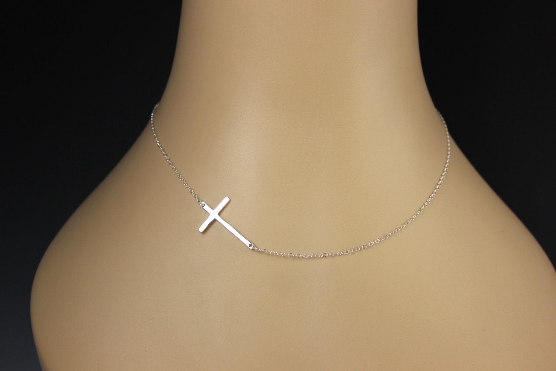 Sideway Cross Necklace