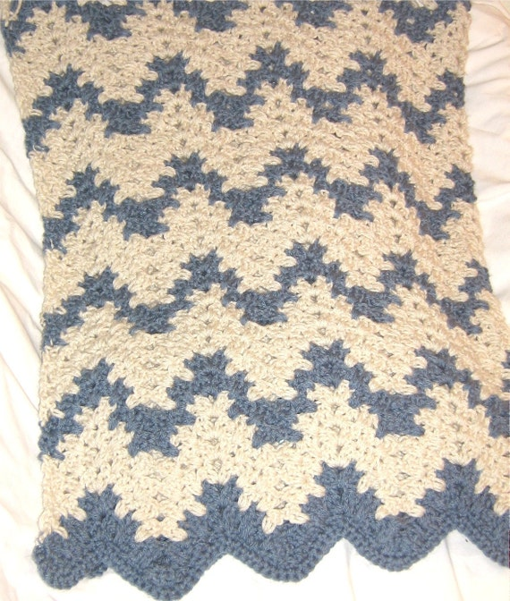 Reserved for Stephanie - Blue and cream striped afghan