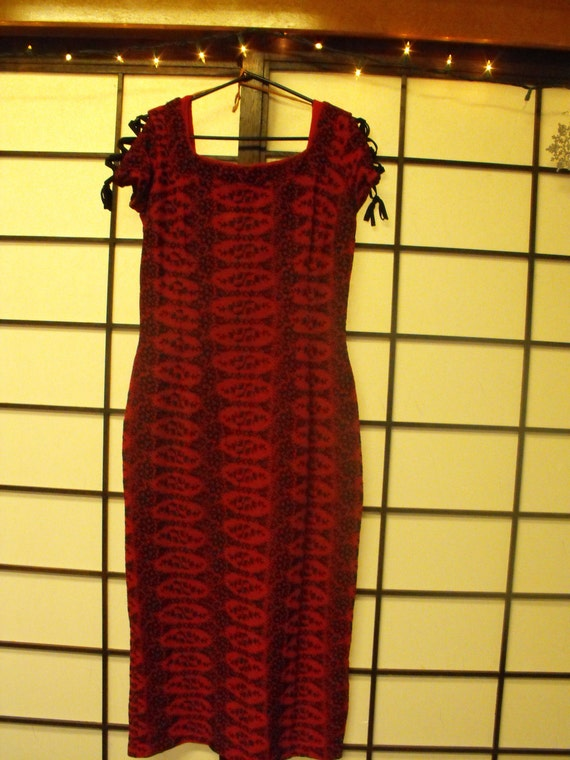 Reserved for Lea til Jan 30th SALE 50s Red embroidered knit wiggle dress Spanish Lady
