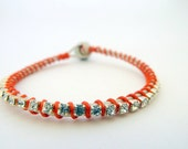 Rhinestone friendship bracelet / white / orange / silver