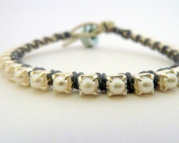 Rhinestone friendship bracelet / white / dove gray grey / silver / storm clouds mist inspired / neutral / spring mother's day