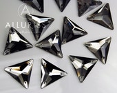 12pcs, Black Diamond Crystal Triangle, X-Large, 22mm, Sew on crystal stone  flatback