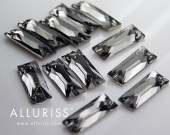 12pcs, Black Diamond Crystal Rectangle, Large, 9mm x 25.5mm, Sew on crystal stone  flatback