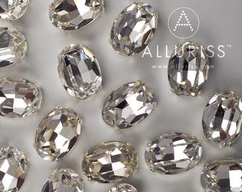 13 x 18mm Oval, 18pcs Clear Crystal, Fancy Stone & Setting