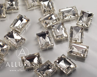 13 x 18mm Rectangle, 1pc ONLY Clear Crystal, Fancy Stone & Setting