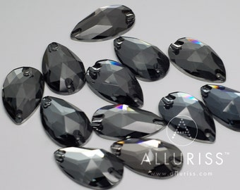 SALE - 12pcs Blue / Black Diamond Crystal, 17 x 28mm Teardrop, sew on stone embellishment  flatback