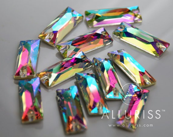 12pcs AB Crystal RECTANGLE 9mm x 25.5mm sew on crystal stone