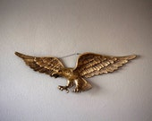 Vintage Brass Eagle Plaque Wall Hanging