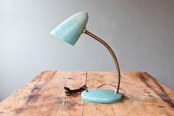 Fiberglass Desk Lamp Eames Era Adjustable Gooseneck in Turquoise