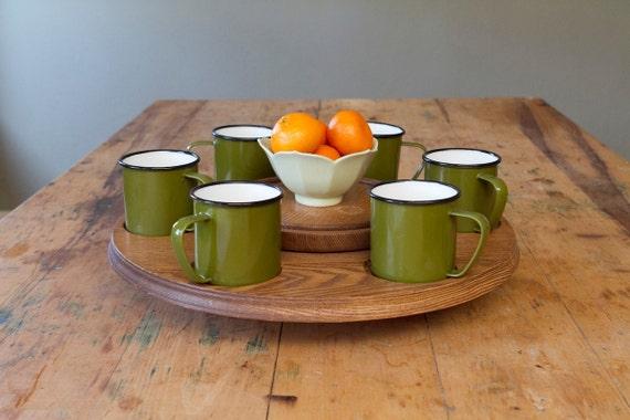 Vintage Wooden Lazy Susan with Olive Green Set of Enamelware Mugs