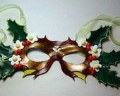 Winter Holly Fantasy Venetian Mardi Gras Carnival Masquerade leather mask sculpture