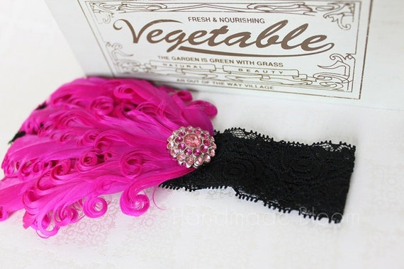 Feather Lace Headband Hot Pink Rhinestone Button.  Hair Accessories for Newborn, Babies and Girls