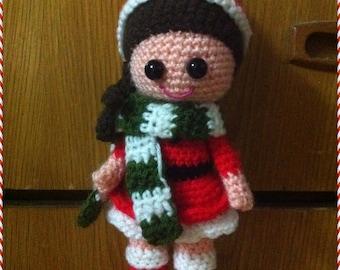 Amigurumi Crochet PDF Pattern -  Christmas Girl