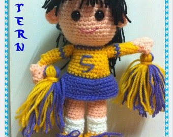 Instant Download Aigurumi crochet pattern - Cheerleader  PDF