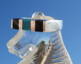 Vintage 925 Sterling Silver ring - with Onyx and Turquoise