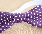 Purple & White Polka Dot Bow Tie