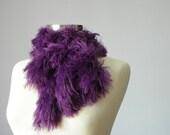 Knitted scarf soft yarn, purple, handmade neckwarmer autumn women accessories, fall fashion, Valentine's day gift idea
