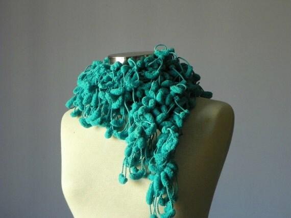 Crochet scarf Turquoise pompom soft yarn - handmade neckwarmer autumn women accessories, fall fashion