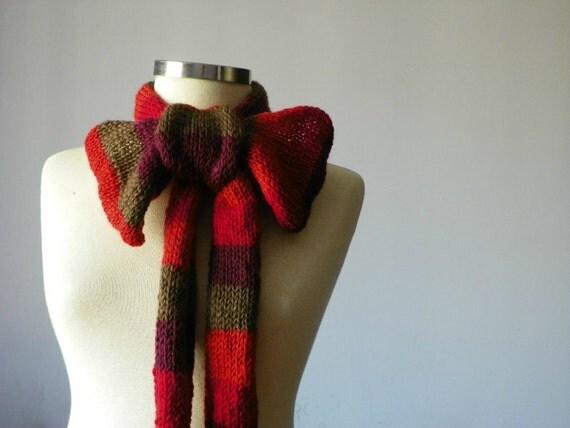 Knitted scarf wool yarn- handmade neckwarmer autumn women accessories, fall - winter fashion