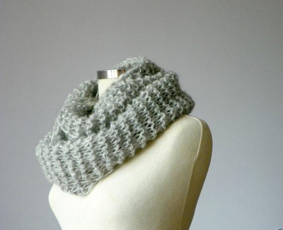 Knitting Cowl Scarf Neck Warmer, Grey yarn color - Handmade knit winter-fall women accessoriesREADY TO SHIP