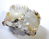 Beaded cuff bracelet with Quartz, Botswana agate fresh water pearls crystals - wedding jewelry