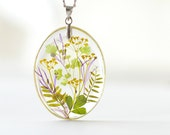 Real pressed herbs pendant - spring nature handmade jewelry - mix green grass
