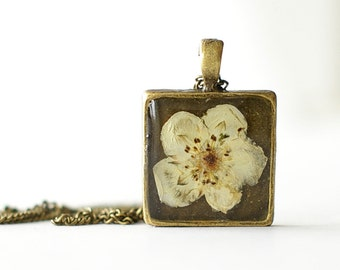 Real pressed flower pendant - handmade resin jewelry - Potentilla fruticosa