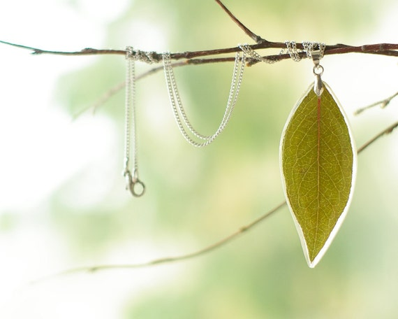 Real leaf resin pendant - Green handmade nature jewelry - Vaccinium corymbosum