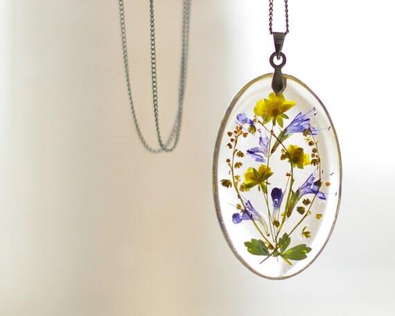 Real Pressed Flowers Pendant Resin Handmade Jewelry