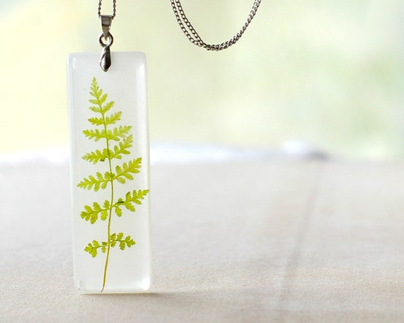 Real Pressed Fern Leaf necklace - botanical handmade jewelry - Cystopteris montana