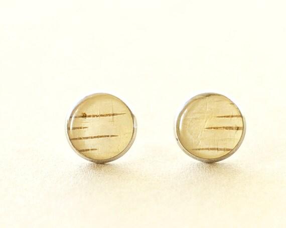 Real Birch Bark Cream Earrings - beige woodland wedding stud earrings - Downy Birch