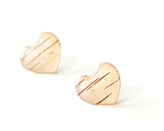 Heart Birch Bark Earrings - woodland beige gift for her - unique jewelry