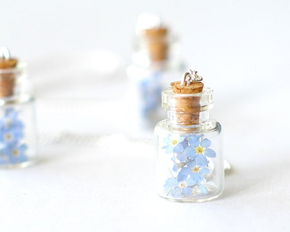 Real Forget-me-not Flowers in Bottle Necklace - Blue Dried Wood Forget me not in Glass Bottle