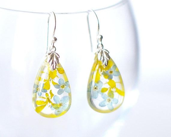 Flowers in resin earrings - real blue yellow floral earrings flowers in glass - Forget-me-not