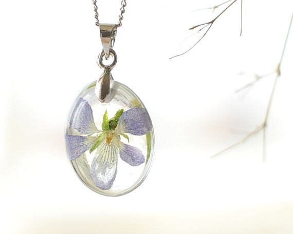 Viola Flower Necklace - real blue lavender flowers in resin - Violet viola canina