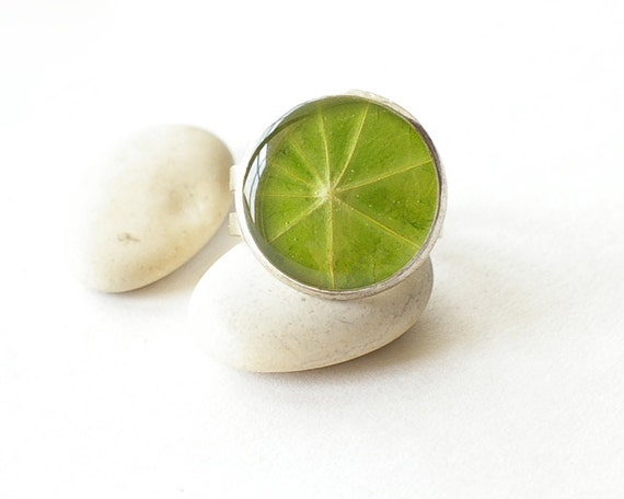Nature ring with real leaf of Nasturtium - handmade green jewelry - Tropaeolum majus