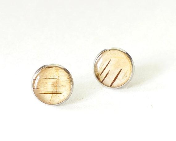 Real Birch Bark Cream Earrings - beige peach woodland stud earrings - Downy Birch