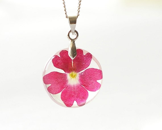 Real Flowers Necklace - Red flower in resin real dried pressed flowers jewelry - Vervain Verbena