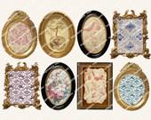 VINTAGE  FRAMES aceo  2.5x3.5in for card-making paper crafts scrapbooking journalling photo albums MagentaBelle digital collage sheet 12