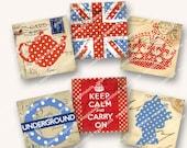 2in VINTAGE BRITISH ICONS squares Keep Calm Union Jack crown MagentaBelle digital collage sheet 52