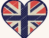 LOVEHEART UNION JACK transfer sheet for  tote bags, teatowels, cushions, pillowshams or print onto paper MagentaBelle instant download 85